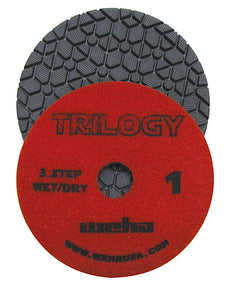 "Weha 4"" Trilogy 3 Step Diamond Polishing Pad - Wet"