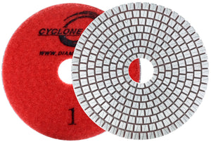 "Diamax Cyclone ES White 4"" Pad 3 Step Polishing System for Engineered stone, granite"