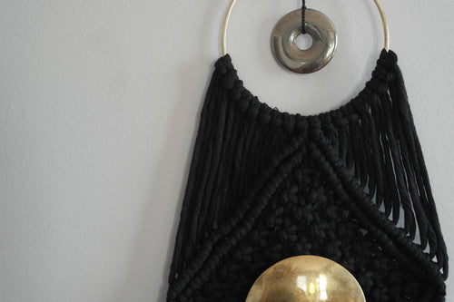 Pyrite And Brass Macrame Wallhanging