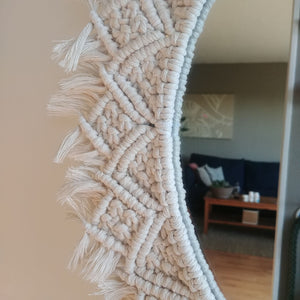 "Natural Cotton Cord 13"" Macrame Mirro"