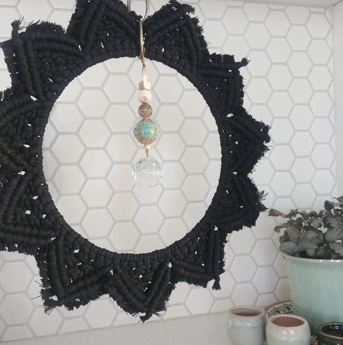 Chainlink Black Cotton Cord Macrame Suncatcher