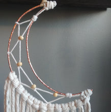 Load image into Gallery viewer, Copper Crescent Moon Macrame Wallhanging