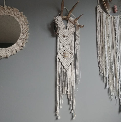 Shed Antler Natural Macrame Wall Hanging