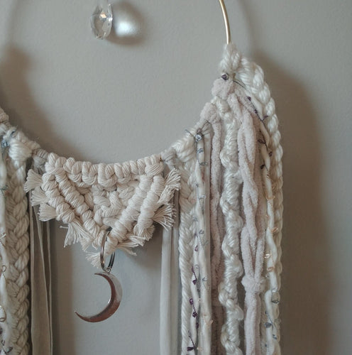 Chainlink Crescent Moon Macrame Suncatcher