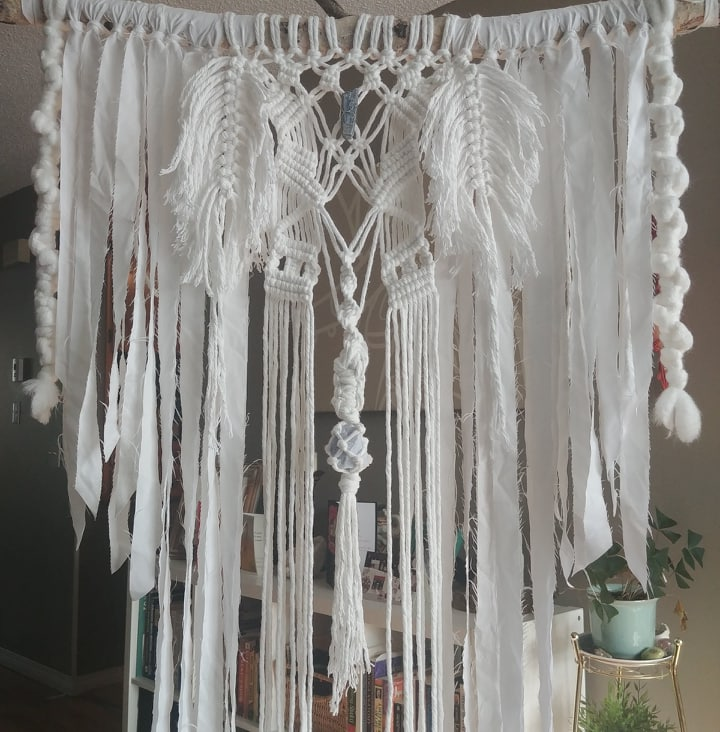 White Celestite & Kynite Boho Macrame Wall Hanging