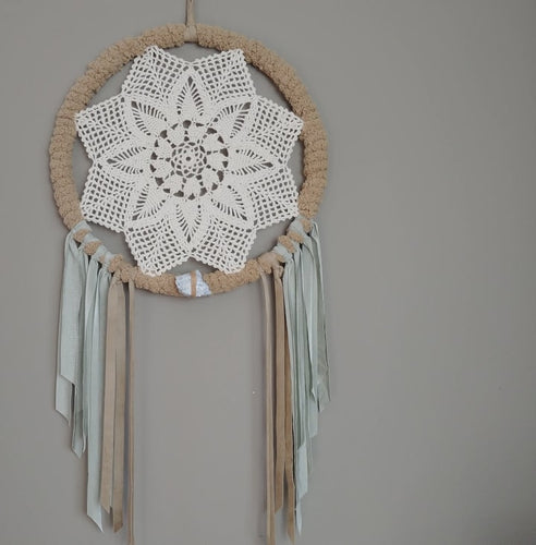 Hazel Celestite Leather Crochet