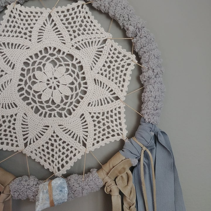 Dusty Blue Circular Leather Crochet