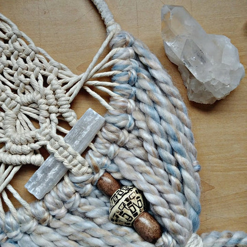 Winter Cozy Selenite Macrame