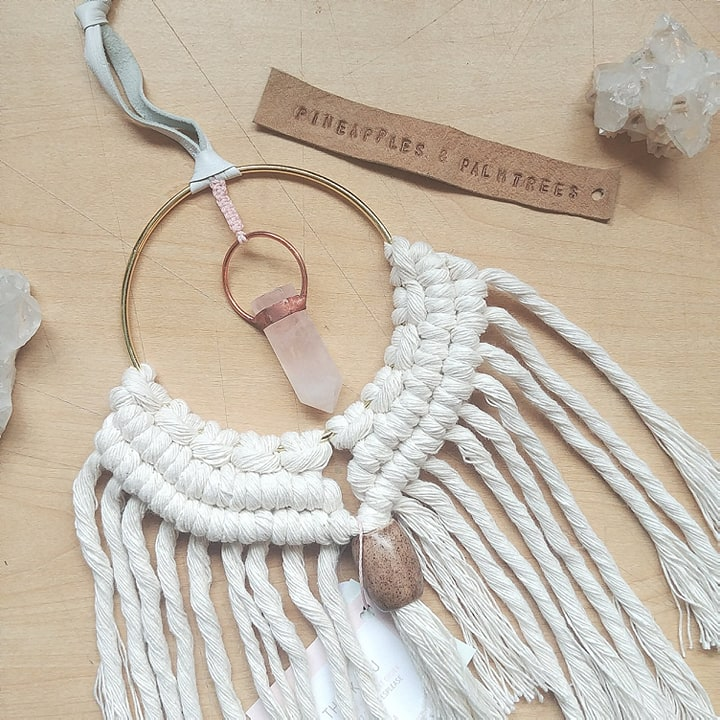 Soldered Rose Quartz Macrame