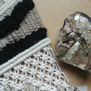 Rutilated Smoky Quartz & Pyrite Macrame Weaving