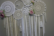 Load image into Gallery viewer, Crochet Flower & Crystal Wallhanging