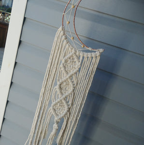 Copper Crescent Moon Macrame Wallhanging