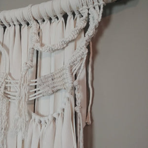 White Selenite Boho Macrame Wall Hanging