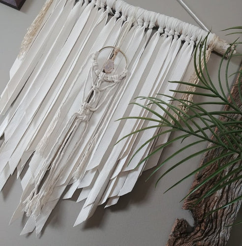 Creams Rose Quartz Macrame Wall Hanging