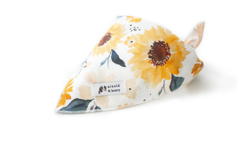 Back in stock! Sunflower Dog Bandana by Arnold & Henry