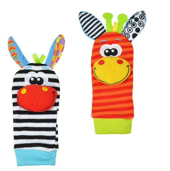 Ciorapei colorati cu animalut din plus Wrist Rattle