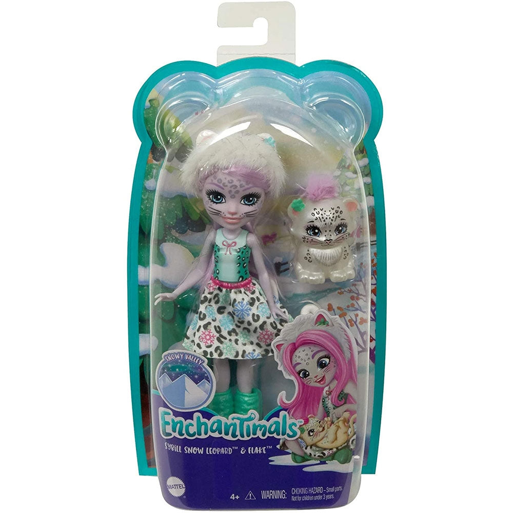 Papusa Enchantimals by Mattel Sybill Snow Leopard cu figurina Flake