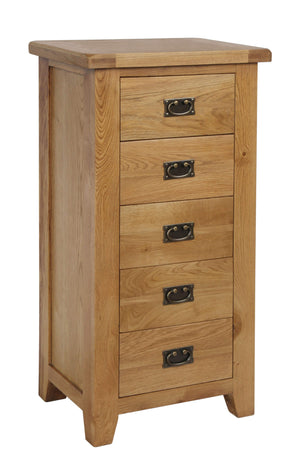 Rustic 5 Drawer Chest - FREE UK Mainland Delivery