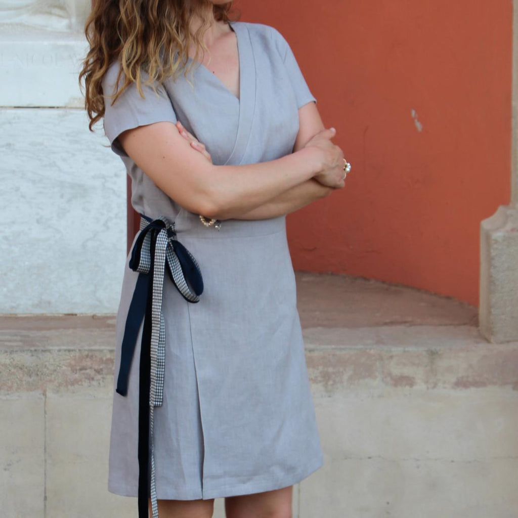 Wrap Around Linen Dress Grey Vichy