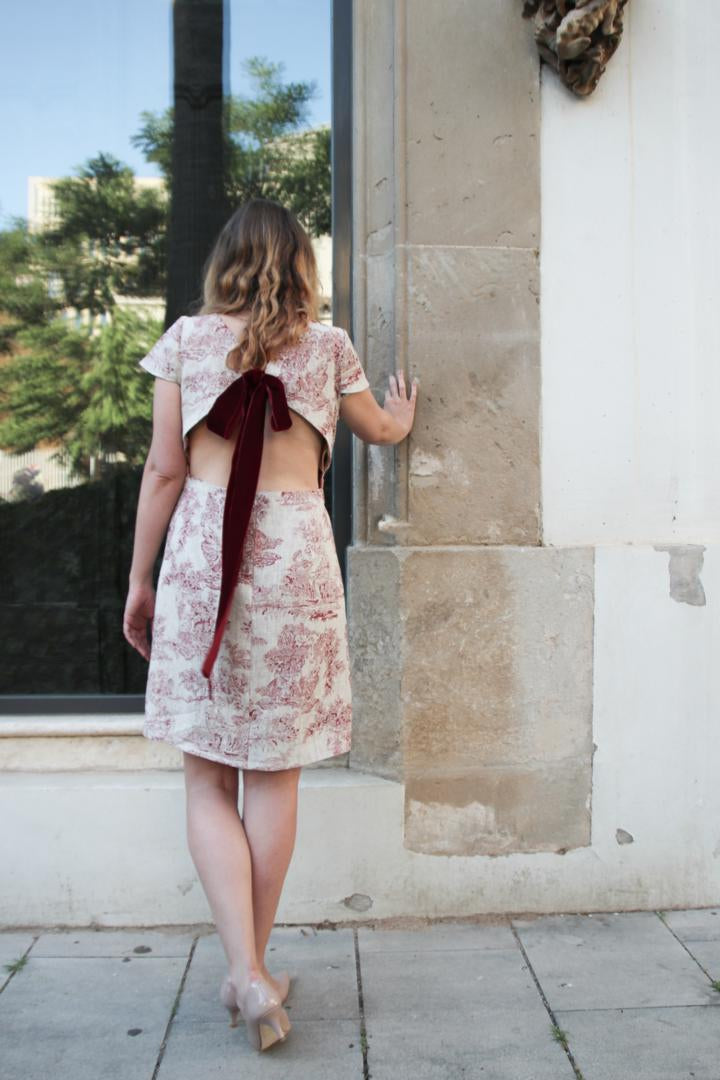 Linen Dress Toile de Jouy Open Back