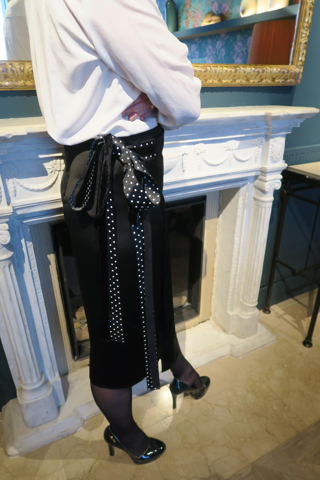 Black Polka Dots Wrap Around Midi Skirt