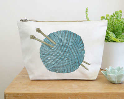 Knitting Wash Bag by Ceridwen Hazelchild Design.