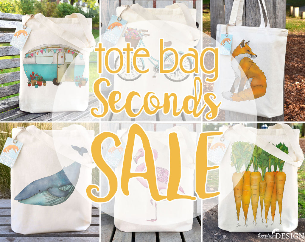 A collection of seconds tote bags on Sale.