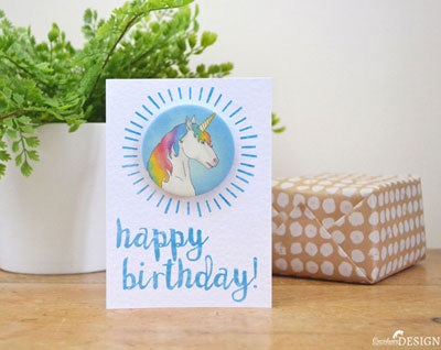 A happy birthday card with a unicorn badge, propped up on an oak table against a birthday gift wrapped in polkadot gift wrap and a pot plant.