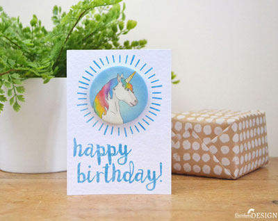 Unicorn Birthday Badge Card by Ceridwen Hazelchild Design