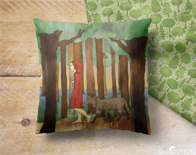 A cushion featuring a pattern of woodland trees.