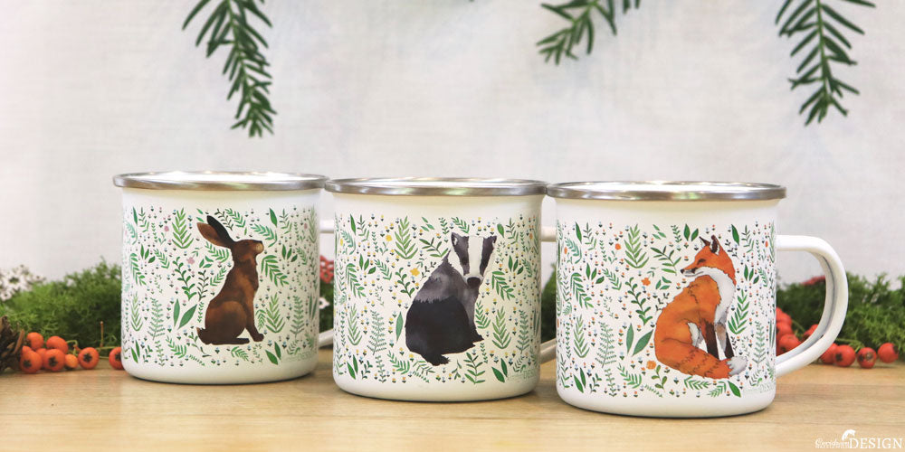 Enamel Mugs with woodland animal designs by Ceridwen Hazelchild.