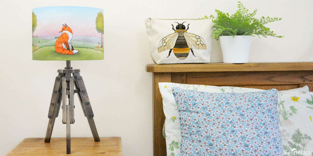 HandmadeFox Lampshade, Cherry Blossom Floral Cushion and Bee Wash Bag by Ceridwen Hazelchild
