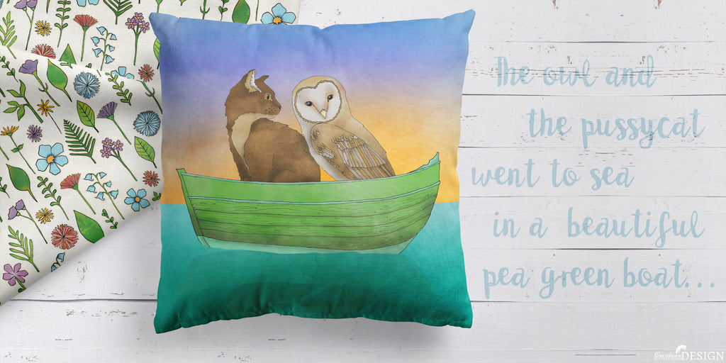 A cushion with a print of the Owl and the Pussy Cat.