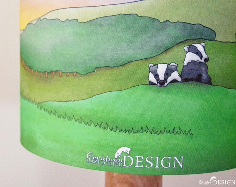 Badger Lampshade by Ceridwen Hazelchild Design