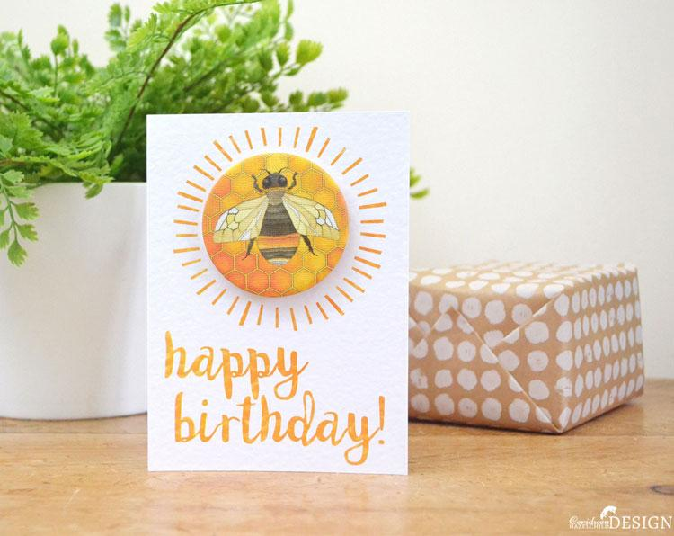 Bee Birthday Badge Card