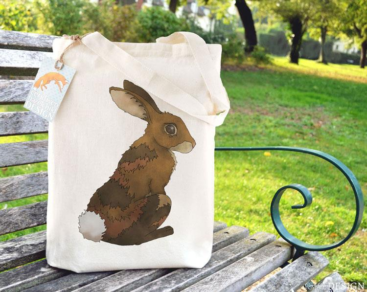 Bunny Rabbit Tote Bag by Ceridwen Hazelchild Design.