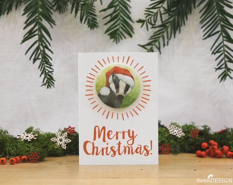 Badger Christmas Badge Card