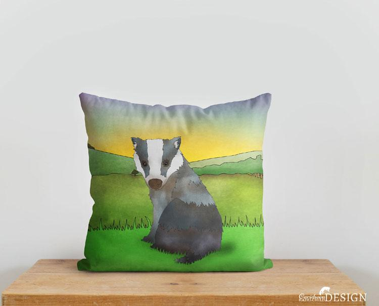 Badger Cushion Cover by Ceridwen Hazelchild Design.