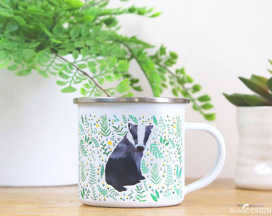 Badger Enamel Mug by Ceridwen Hazelchild Design.