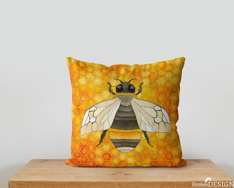 Bumble Bee Cushion Cover by Ceridwen Hazelchild Design.