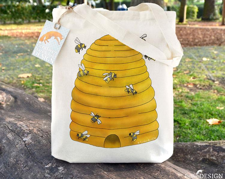 Bee Hive Tote Bag by Ceridwen Hazelchild Design.