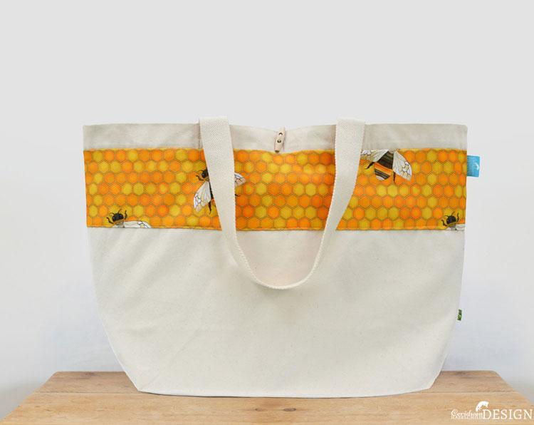 Bee Large Canvas Tote Bag by Ceridwen Hazelchild Design., Canvas Tote