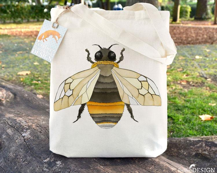 Bumble Bee Tote Bag by Ceridwen Hazelchild Design.