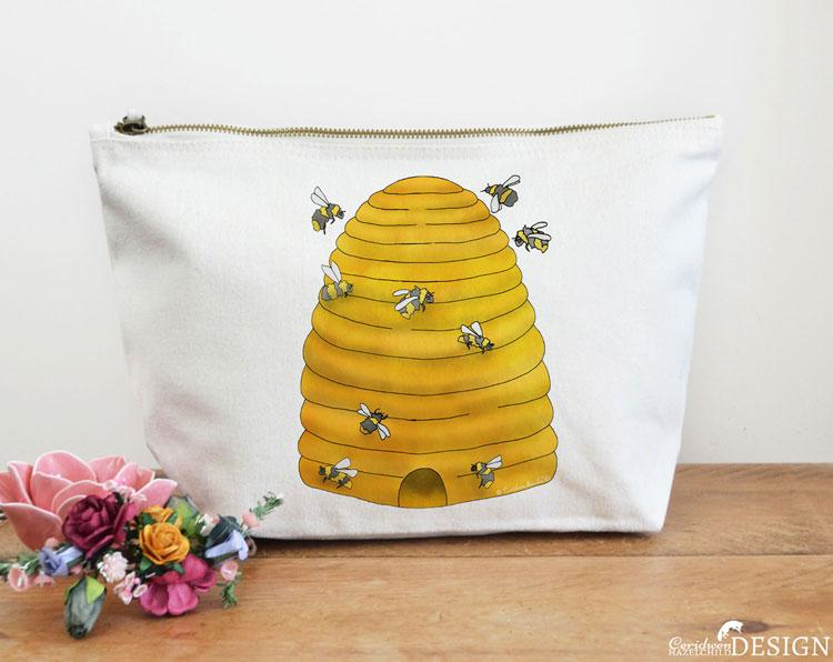 Bee Hive Canvas Wash Bag by Ceridwen Hazelchild Design.