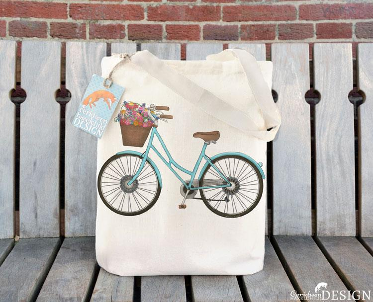 Bicycle Tote Bag by Ceridwen Hazelchild Design.
