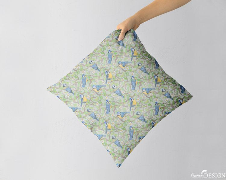 Blue Tit Cushion Cover by Ceridwen Hazelchild Design.