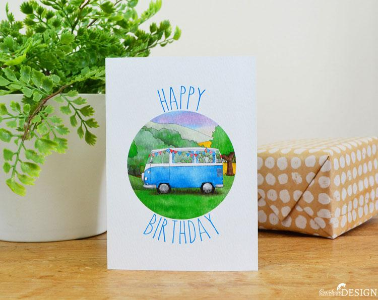 Campervan Birthday Card by Ceridwen Hazelchild Design.