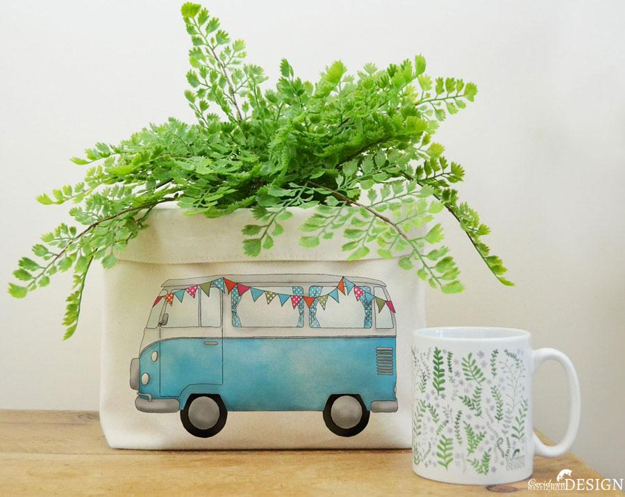 Campervan Canvas Storage Box by Ceridwen Hazelchild Design