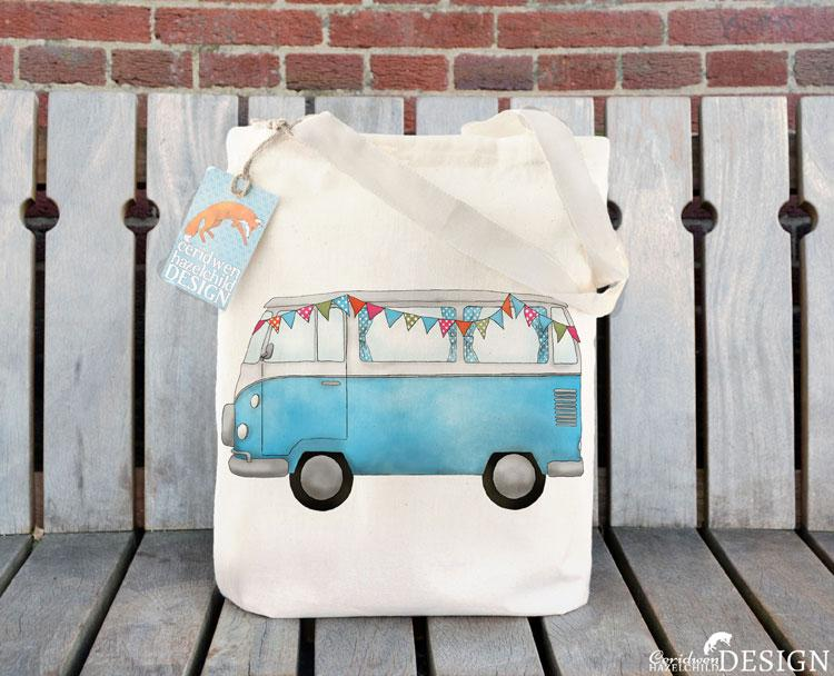 Blue Campervan Tote Bag by Ceridwen Hazelchild Design.