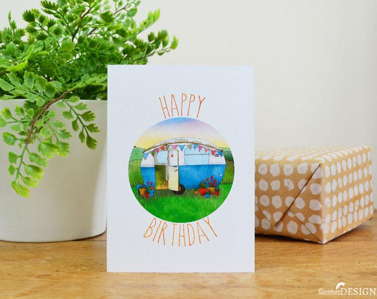 Caravan Birthday Card by Ceridwen Hazelchild Design.